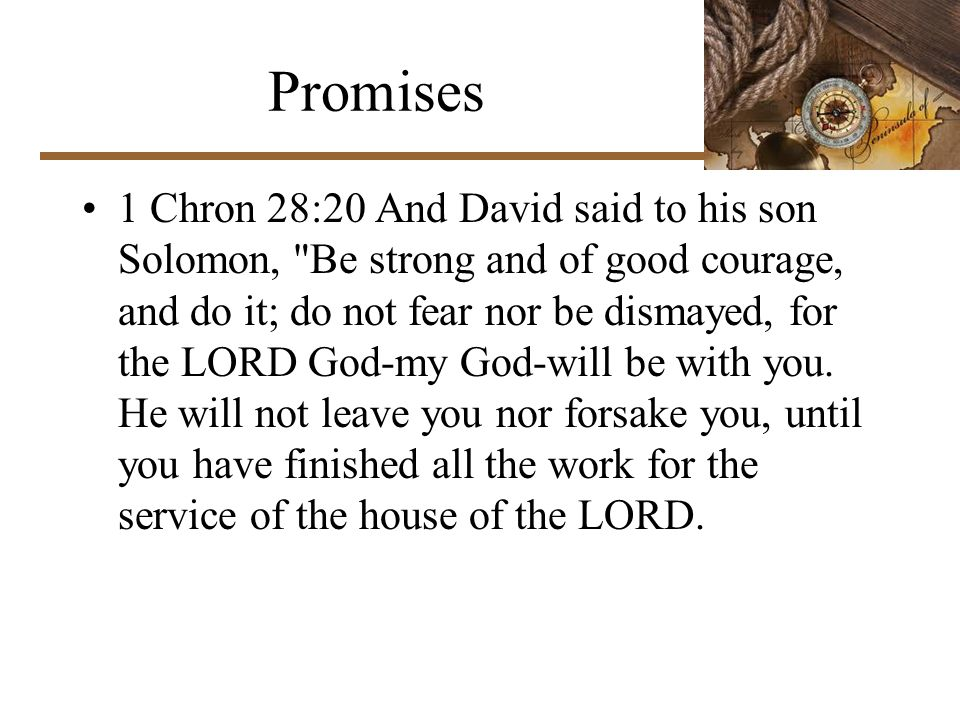 Promises 1 Chron 28:20 And David said to his son Solomon, Be strong and of good courage, and do it; do not fear nor be dismayed, for the LORD God-my God-will be with you.