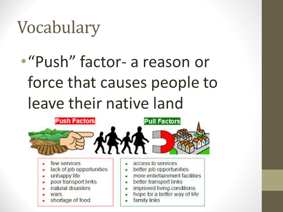 "Vocabulary ""Push"" factor- a reason or force that causes people to leave their native land"