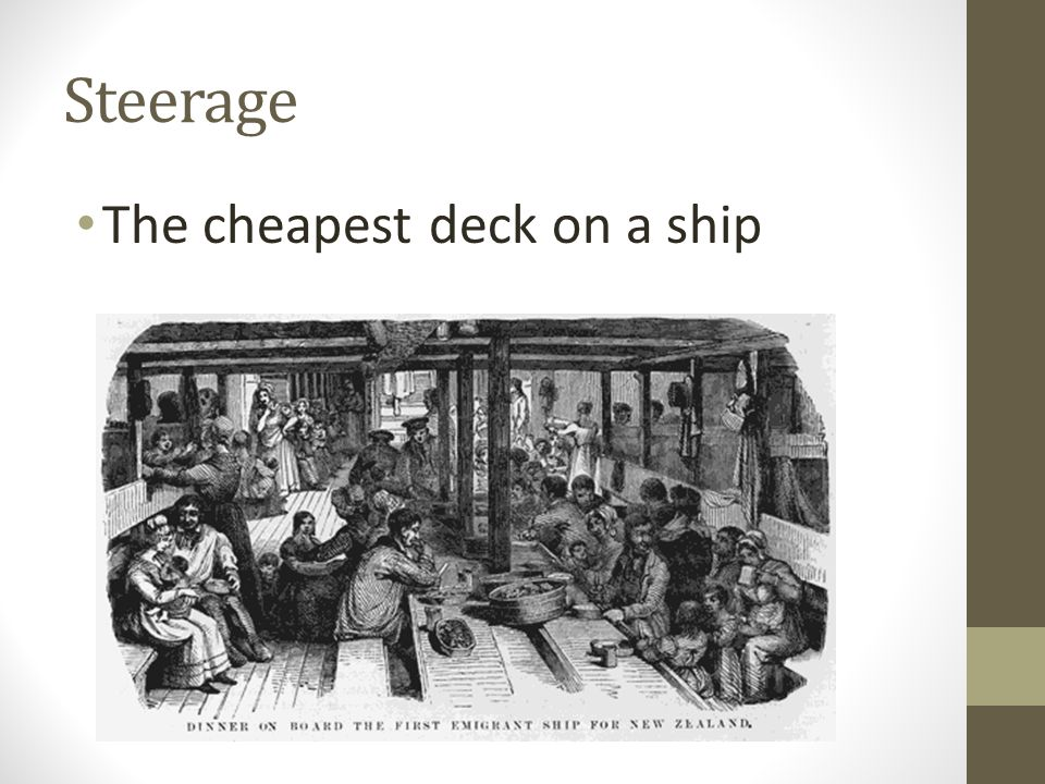 Steerage The cheapest deck on a ship