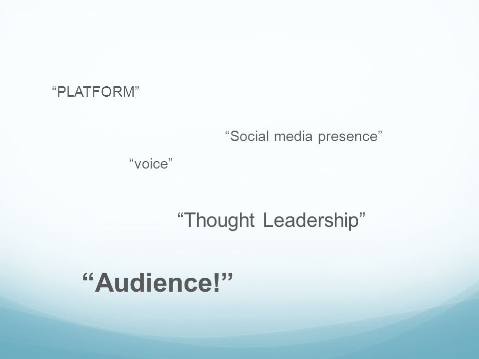 PLATFORM Social media presence voice Thought Leadership Audience!