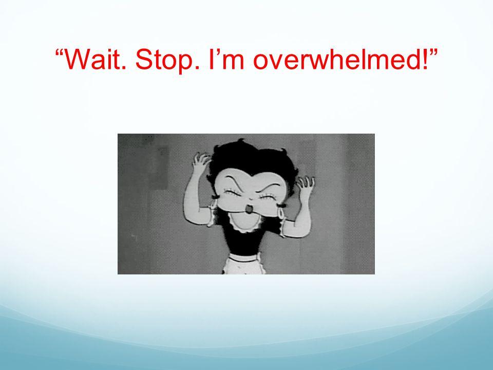 Wait. Stop. I'm overwhelmed!