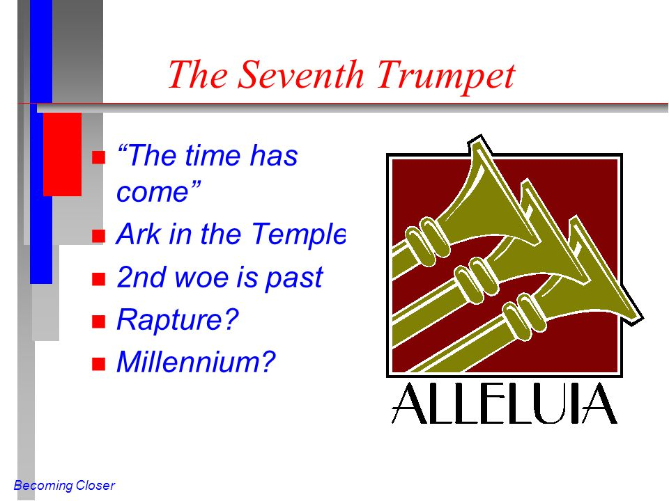 "Becoming Closer The Seventh Trumpet n ""The time has come"" n Ark in the Temple n 2nd woe is past n Rapture? n Millennium?"