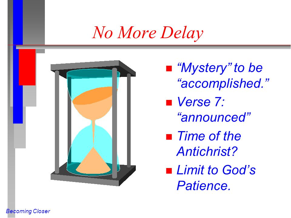 "Becoming Closer No More Delay n ""Mystery"" to be ""accomplished."" n Verse 7: ""announced"" n Time of the Antichrist? n Limit to God's Patience."
