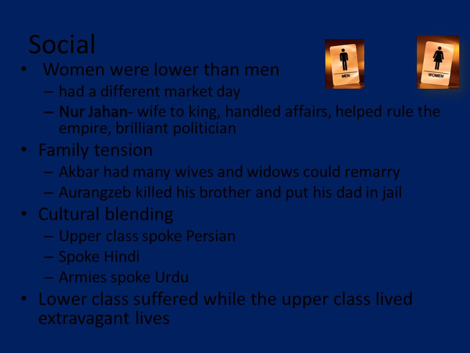 Social Women were lower than men – had a different market day – Nur Jahan- – Nur Jahan- wife to king, handled affairs, helped rule the empire, brilliant politician Family tension – Akbar had many wives and widows could remarry – Aurangzeb killed his brother and put his dad in jail Cultural blending – Upper class spoke Persian – Spoke Hindi – Armies spoke Urdu Lower class suffered while the upper class lived extravagant lives