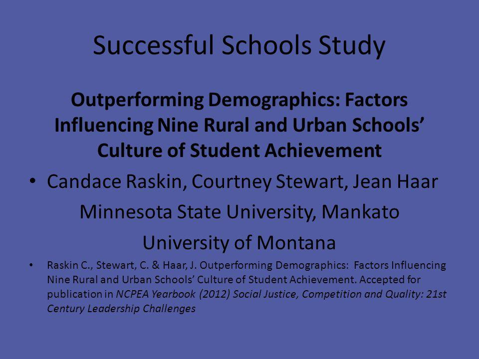 Successful Schools Study Outperforming Demographics: Factors Influencing Nine Rural and Urban Schools' Culture of Student Achievement Candace Raskin, Courtney Stewart, Jean Haar Minnesota State University, Mankato University of Montana Raskin C., Stewart, C.