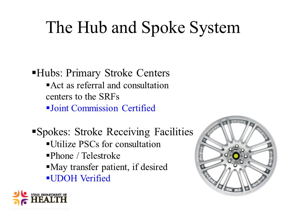 The Hub and Spoke System  Hubs: Primary Stroke Centers  Act as referral and consultation centers to the SRFs  Joint Commission Certified  Spokes: Stroke Receiving Facilities  Utilize PSCs for consultation  Phone / Telestroke  May transfer patient, if desired  UDOH Verified