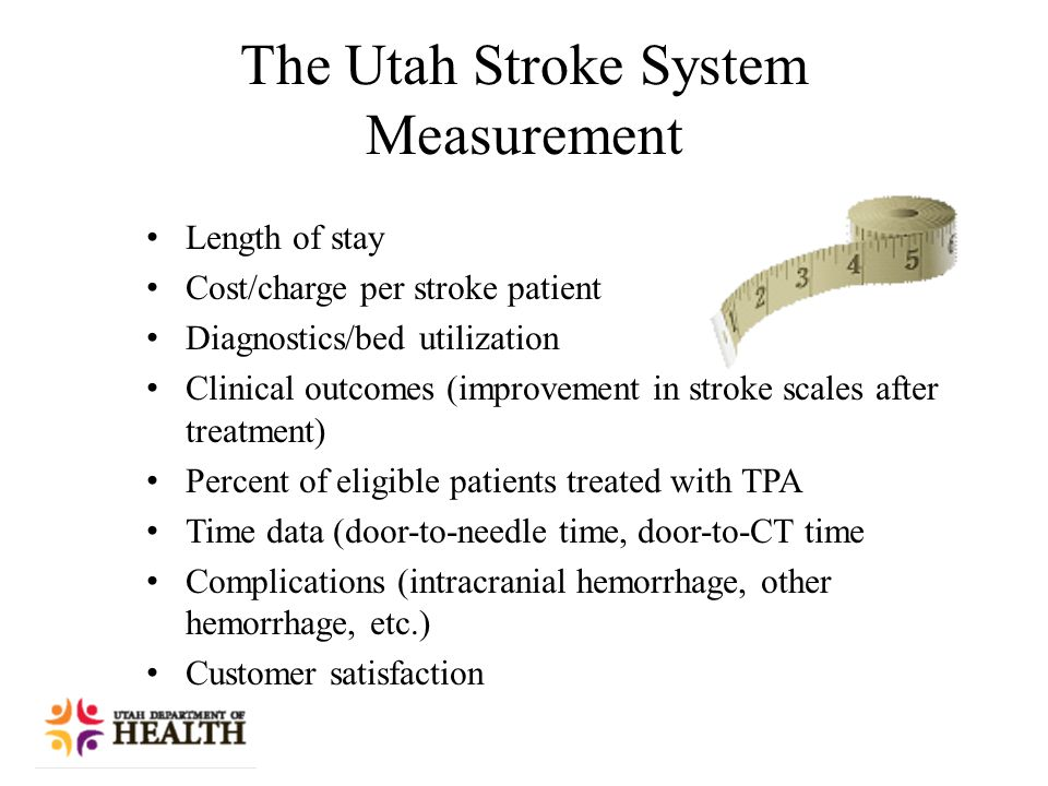The Utah Stroke System Measurement Length of stay Cost/charge per stroke patient Diagnostics/bed utilization Clinical outcomes (improvement in stroke scales after treatment) Percent of eligible patients treated with TPA Time data (door-to-needle time, door-to-CT time Complications (intracranial hemorrhage, other hemorrhage, etc.) Customer satisfaction