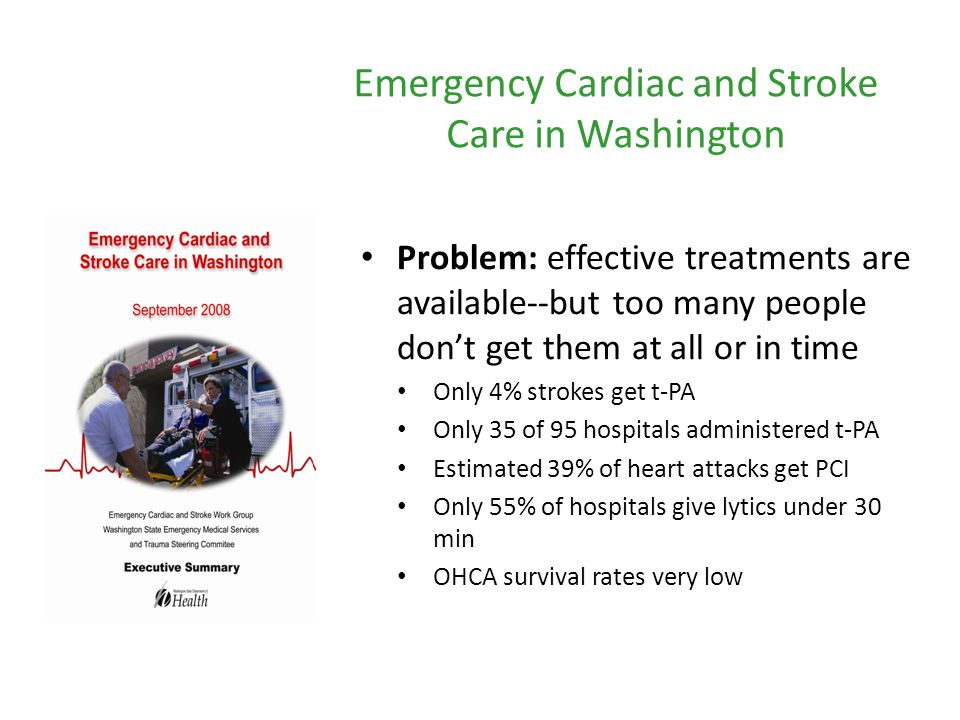 Emergency Cardiac and Stroke Care in Washington Problem: effective treatments are available--but too many people don't get them at all or in time Only 4% strokes get t-PA Only 35 of 95 hospitals administered t-PA Estimated 39% of heart attacks get PCI Only 55% of hospitals give lytics under 30 min OHCA survival rates very low