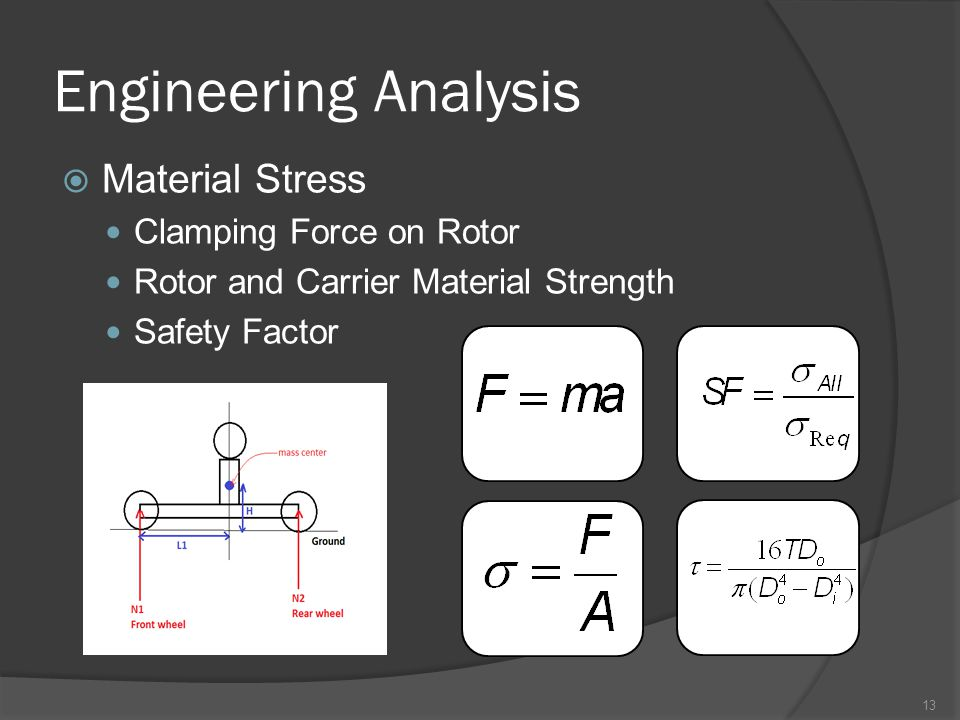 Engineering Analysis  Material Stress Clamping Force on Rotor Rotor and Carrier Material Strength Safety Factor 13
