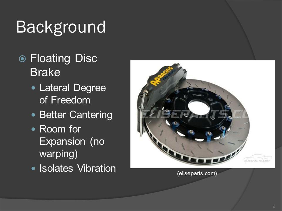 Background  Floating Disc Brake Lateral Degree of Freedom Better Cantering Room for Expansion (no warping) Isolates Vibration 4 (eliseparts.com)