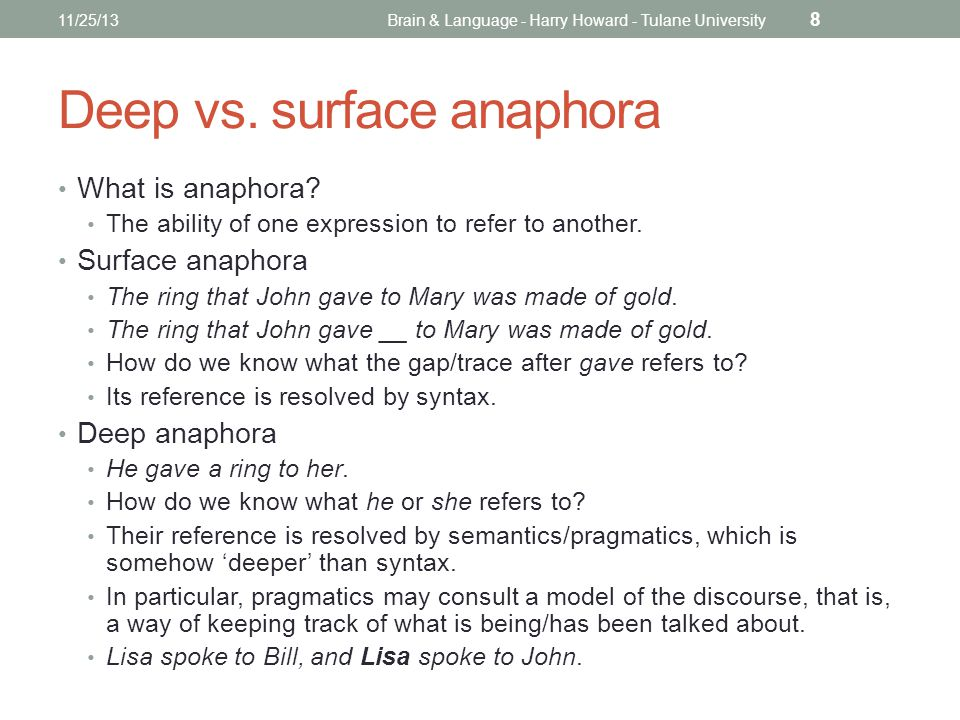 Deep vs. surface anaphora What is anaphora. The ability of one expression to refer to another.