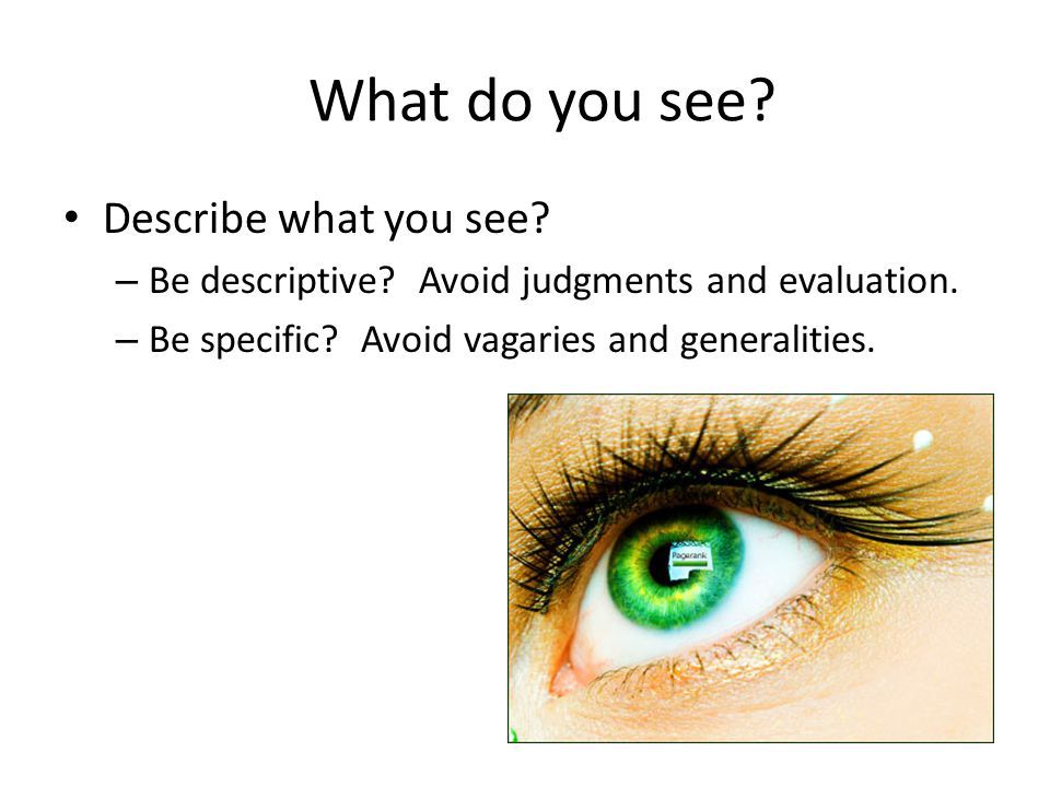 What do you see. Describe what you see. – Be descriptive.