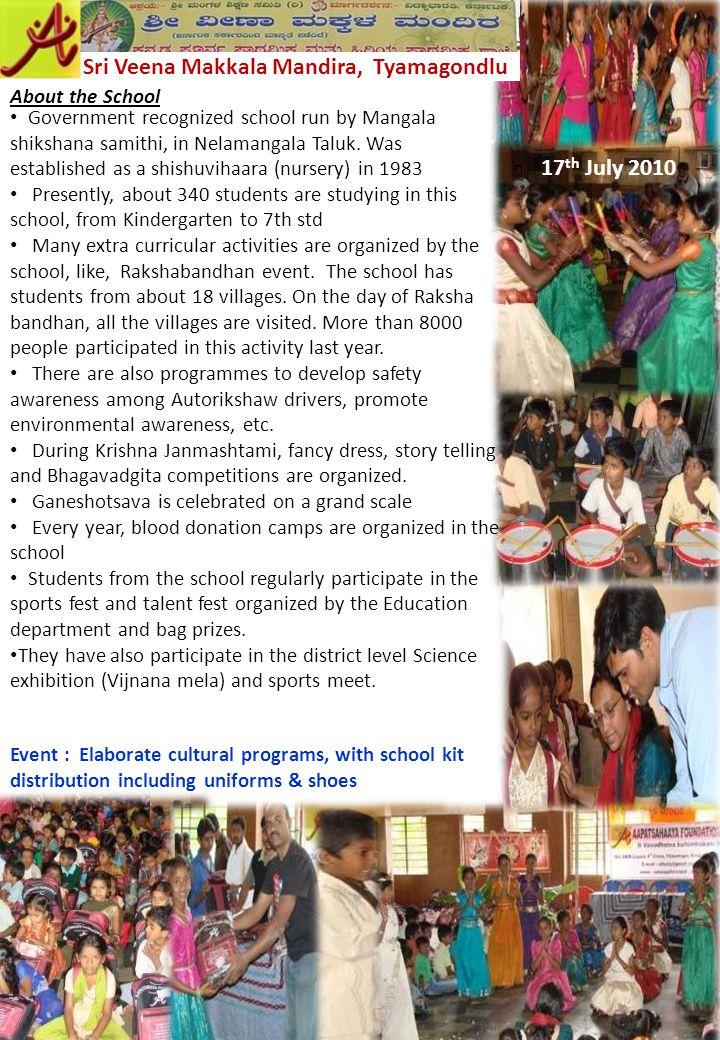 About the School Sri Veena Makkala Mandira, Tyamagondlu Government recognized school run by Mangala shikshana samithi, in Nelamangala Taluk. Was estab