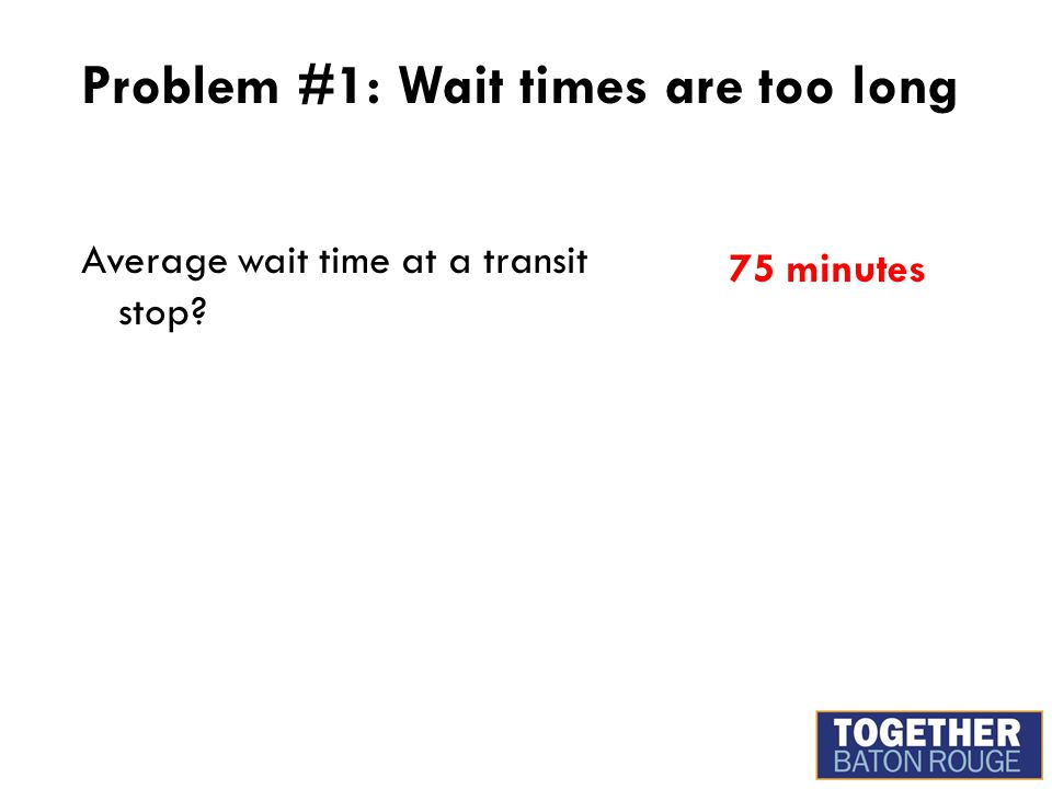 Problem #1: Wait times are too long Average wait time at a transit stop? 75 minutes