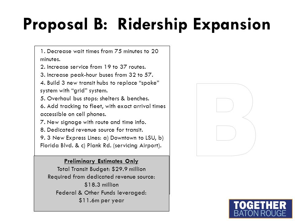 Proposal B: Ridership Expansion 1.Decrease wait times from 75 minutes to 20 minutes.