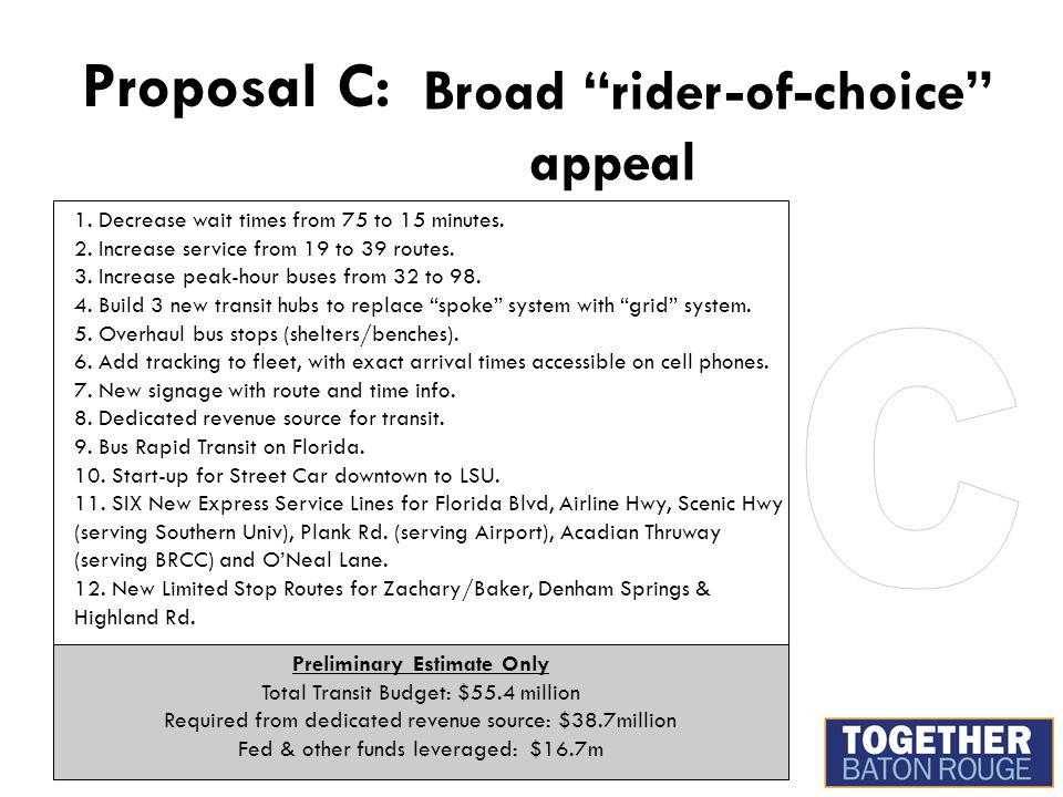 Proposal C: Broad rider-of-choice appeal 1.Decrease wait times from 75 to 15 minutes.