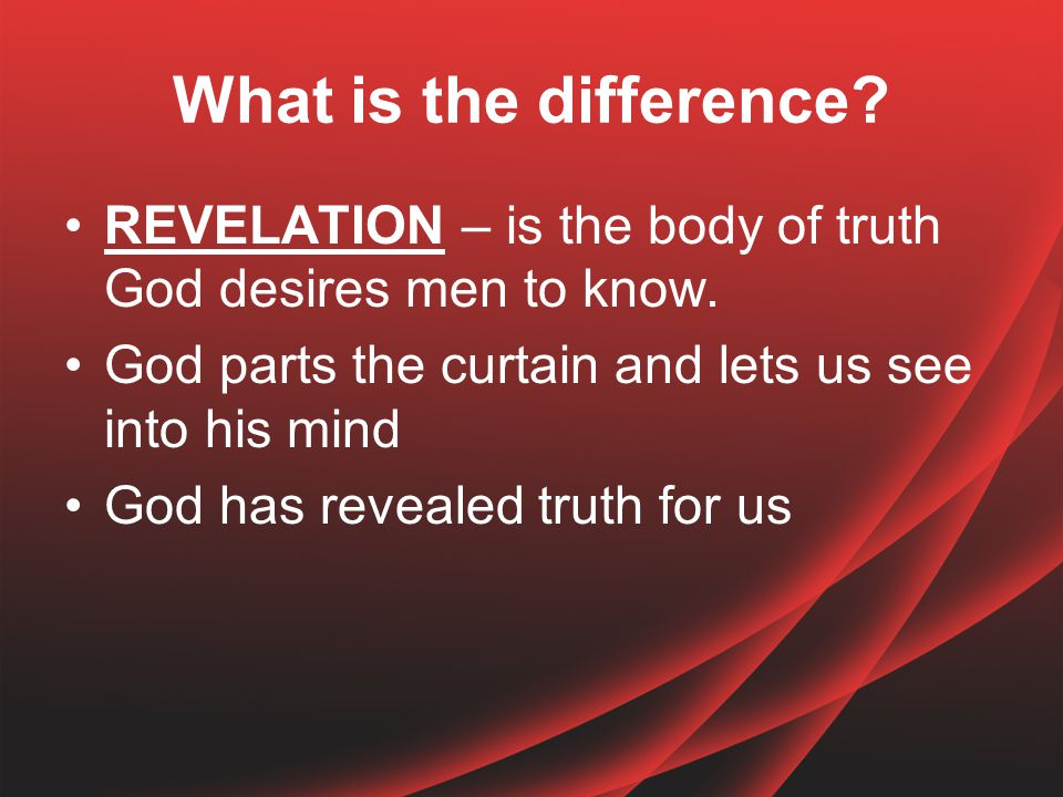 What is the difference.INSPIRATION – is the method God used to write and preserve the truth.