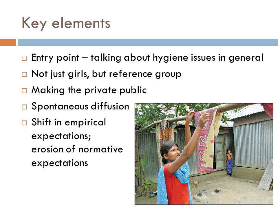 Key elements  Entry point – talking about hygiene issues in general  Not just girls, but reference group  Making the private public  Spontaneous d