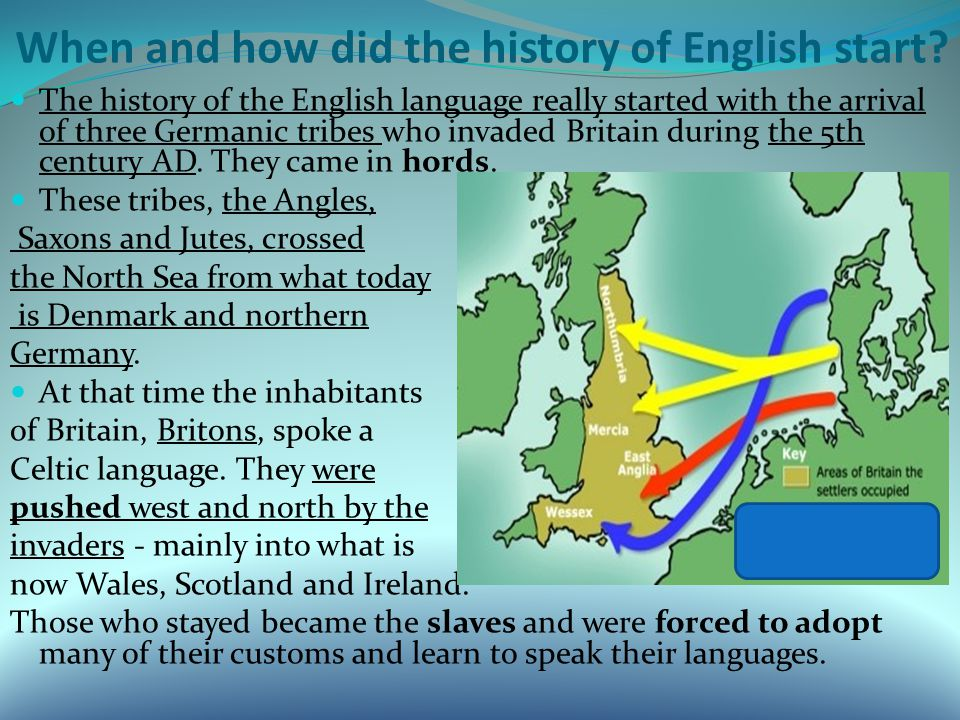 When and how did the history of English start.