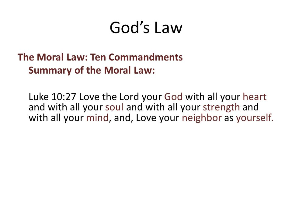 The Moral Law: Ten Commandments Summary of the Moral Law: Luke 10:27 Love the Lord your God with all your heart and with all your soul and with all your strength and with all your mind, and, Love your neighbor as yourself.