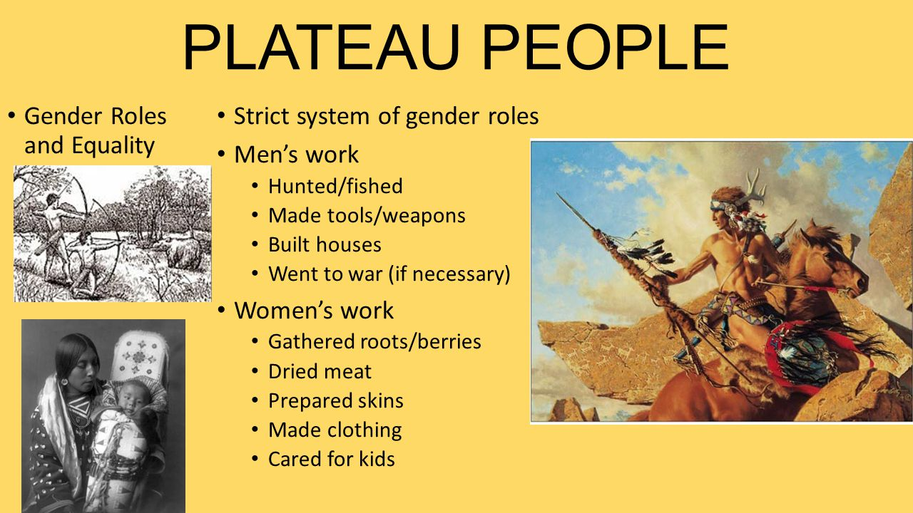 PLATEAU PEOPLE Gender Roles and Equality Strict system of gender roles Men's work Hunted/fished Made tools/weapons Built houses Went to war (if necess