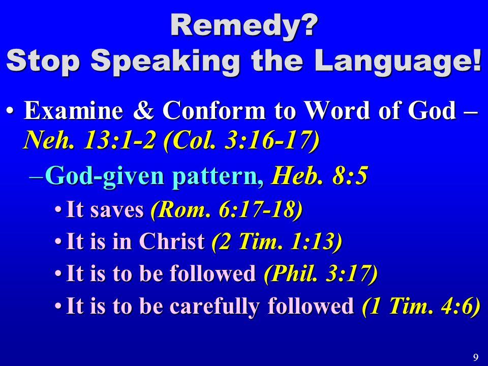 Examine & Conform to Word of God – Neh. 13:1-2 (Col. 3:16-17)Examine & Conform to Word of God – Neh. 13:1-2 (Col. 3:16-17) –God-given pattern, Heb. 8: