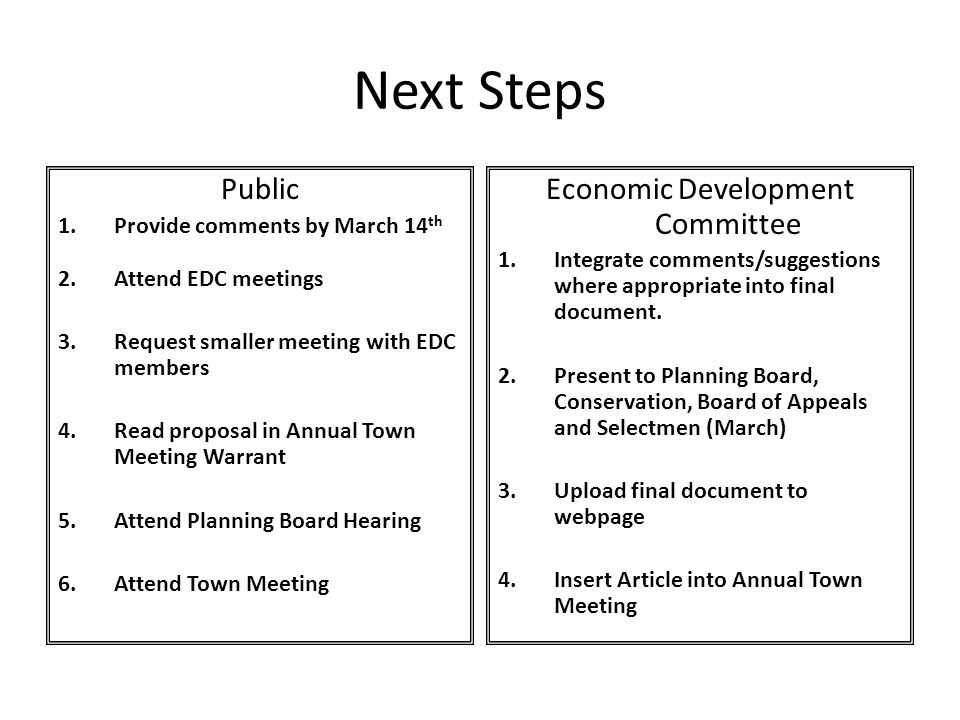 Next Steps Public 1.Provide comments by March 14 th 2.Attend EDC meetings 3.Request smaller meeting with EDC members 4.Read proposal in Annual Town Me