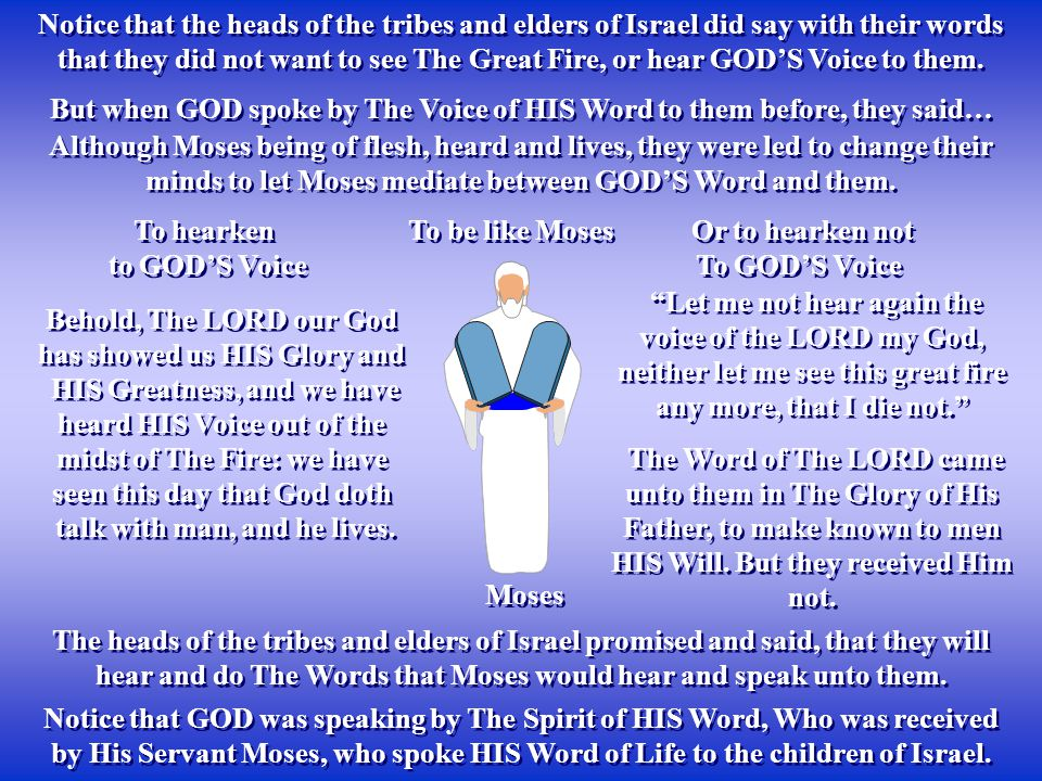 Notice that the heads of the tribes and elders of Israel did say with their words that they did not want to see The Great Fire, or hear GOD'S Voice to