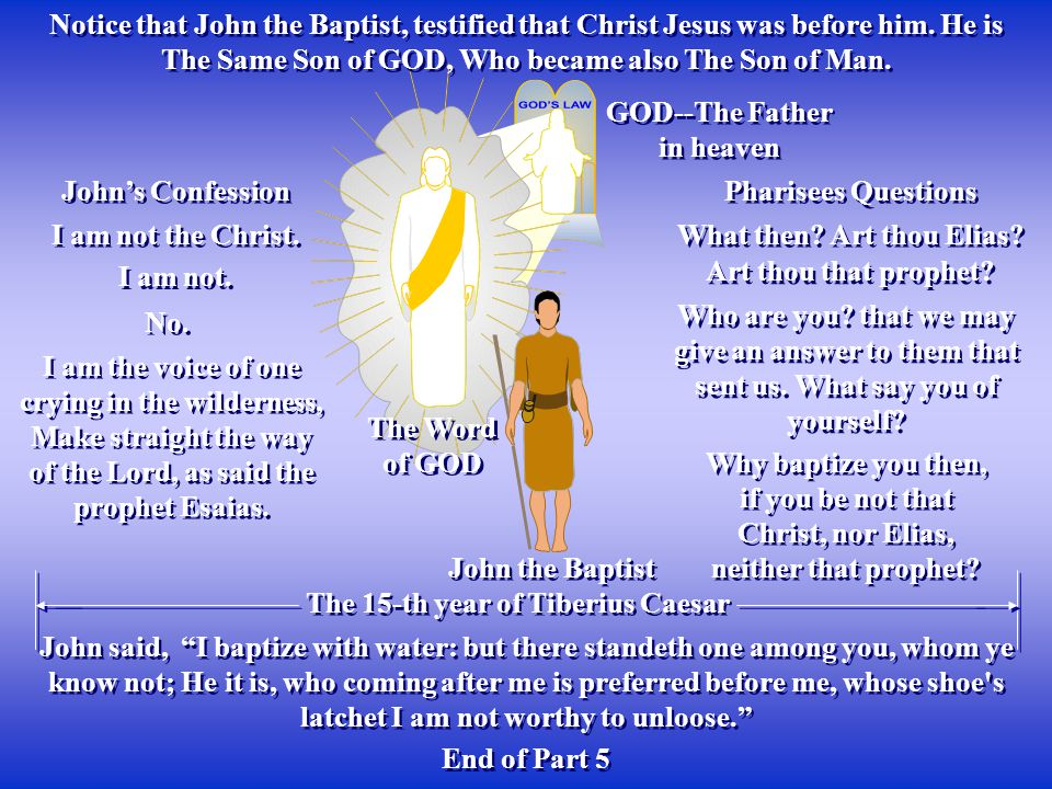 The Word of GOD The Word of GOD GOD--The Father in heaven GOD--The Father in heaven Notice that John the Baptist, testified that Christ Jesus was before him.