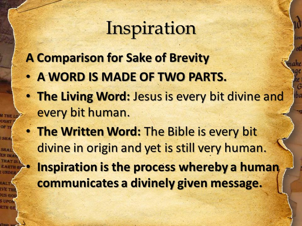 Inspiration A Comparison for Sake of Brevity A WORD IS MADE OF TWO PARTS.