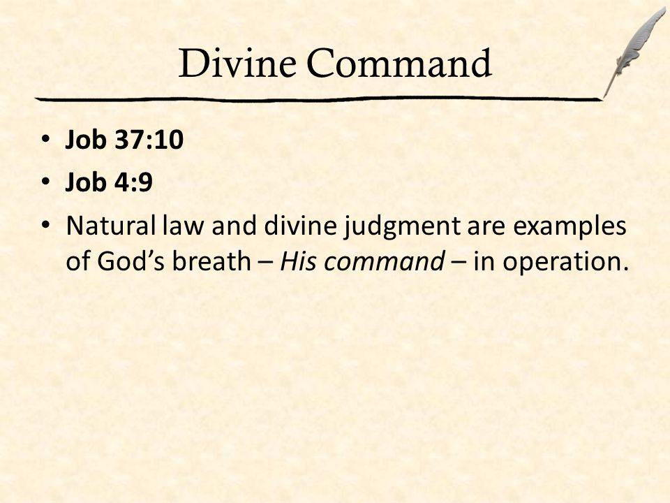 Divine Command Job 33:4 Genesis 2:7 God commanded life into man.