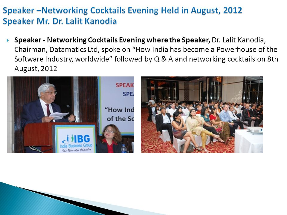  Speaker - Networking Cocktails Evening where the Speaker, Mr.