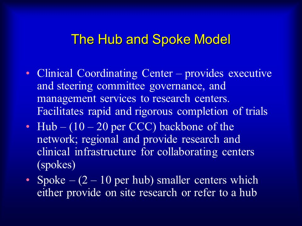 The Hub and Spoke Model Clinical Coordinating Center – provides executive and steering committee governance, and management services to research cente
