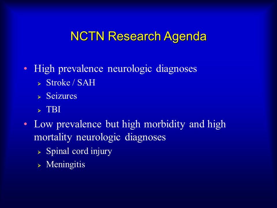 NCTN Research Agenda High prevalence neurologic diagnoses  Stroke / SAH  Seizures  TBI Low prevalence but high morbidity and high mortality neurologic diagnoses  Spinal cord injury  Meningitis