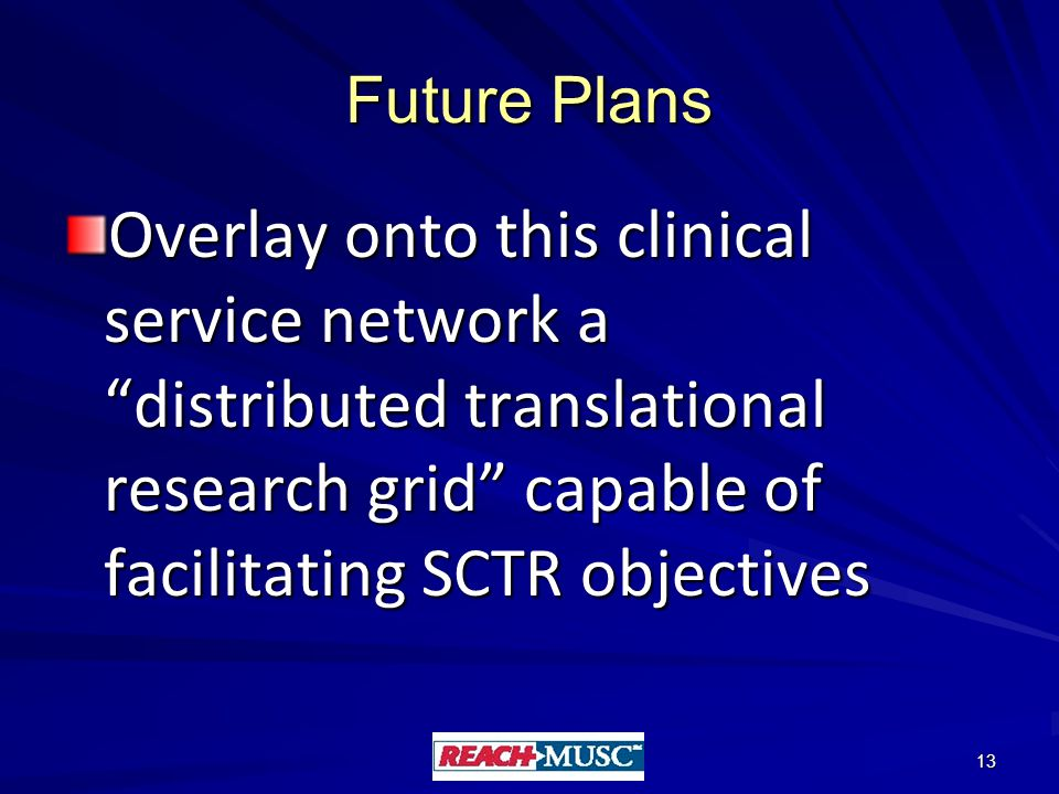 Future Plans Overlay onto this clinical service network a distributed translational research grid capable of facilitating SCTR objectives 13