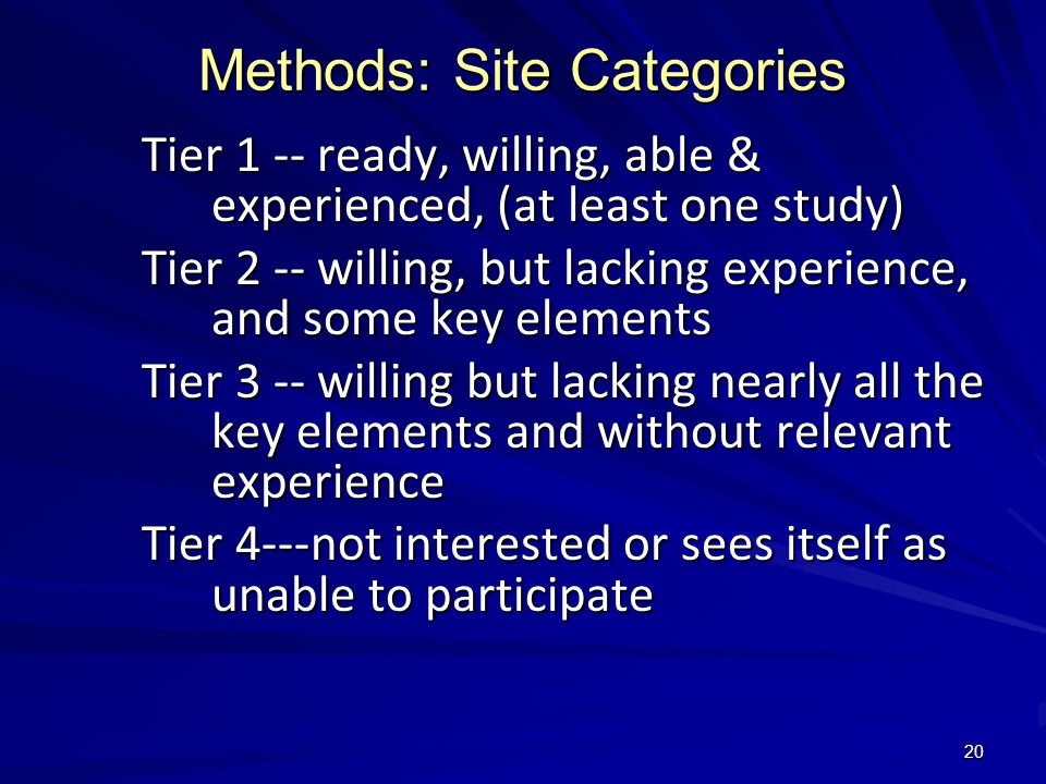20 Methods: Site Categories Tier 1 -- ready, willing, able & experienced, (at least one study) Tier 2 -- willing, but lacking experience, and some key elements Tier 3 -- willing but lacking nearly all the key elements and without relevant experience Tier 4---not interested or sees itself as unable to participate