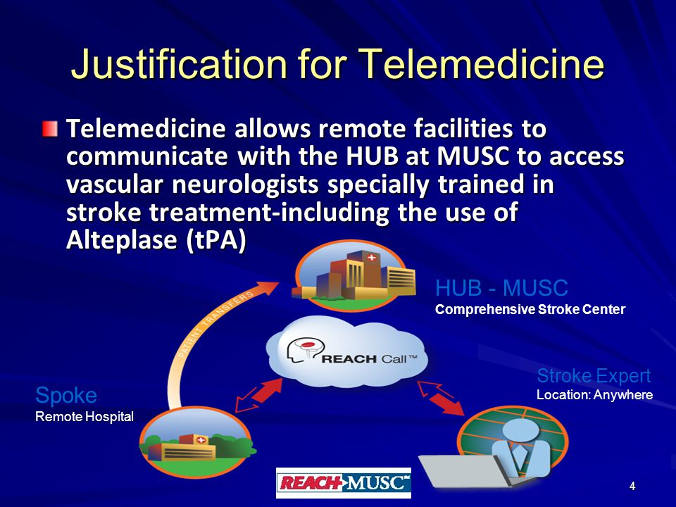 Justification for Telemedicine Telemedicine allows remote facilities to communicate with the HUB at MUSC to access vascular neurologists specially trained in stroke treatment-including the use of Alteplase (tPA) 4 HUB - MUSC Comprehensive Stroke Center Spoke Remote Hospital Stroke Expert Location: Anywhere