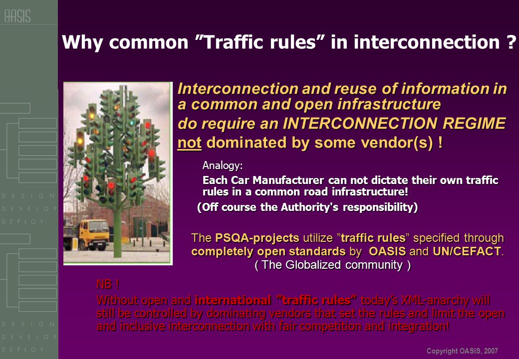 Copyright OASIS, 2007 Why common Traffic rules in interconnection .