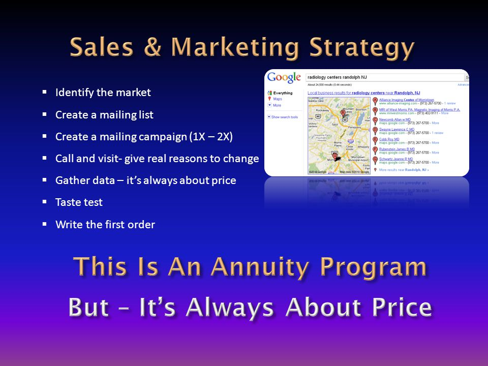  Identify the market  Create a mailing list  Create a mailing campaign (1X – 2X)  Call and visit- give real reasons to change  Gather data – it's always about price  Taste test  Write the first order