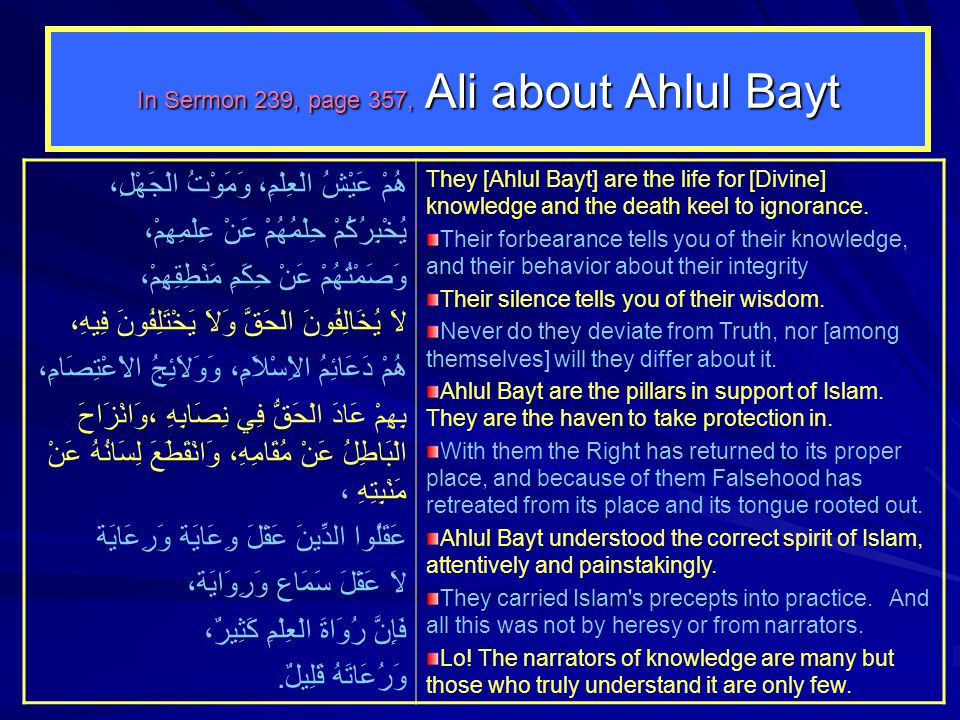 In Sermon 239, page 357, Ali about Ahlul Bayt هُمْ عَيْشُ الْعِلْمِ، وَمَوْتُ الْجَهْلِ، يُخْبِرُكُمْ حِلْمُهُمْ عَنْ عِلْمِهِمْ، وَصَمْتُهُمْ عَنْ حِ