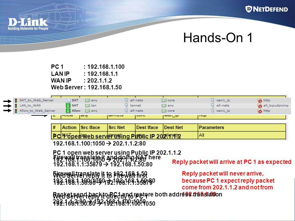 Hands-On 1 PC 1 : 192.168.1.100 LAN IP : 192.168.1.1 WAN IP : 202.1.1.2 Web Server : 192.168.1.50 PC 1 open web server using Public IP 202.1.1.2 192.1