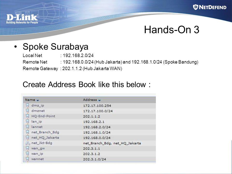 Hands-On 3 Spoke Surabaya Local Net : 192.168.2.0/24 Remote Net : 192.168.0.0/24 (Hub Jakarta) and 192.168.1.0/24 (Spoke Bandung) Remote Gateway : 202