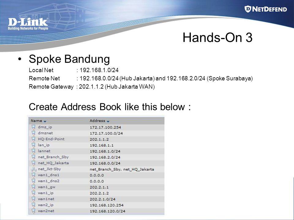 Hands-On 3 Spoke Bandung Local Net : 192.168.1.0/24 Remote Net : 192.168.0.0/24 (Hub Jakarta) and 192.168.2.0/24 (Spoke Surabaya) Remote Gateway : 202