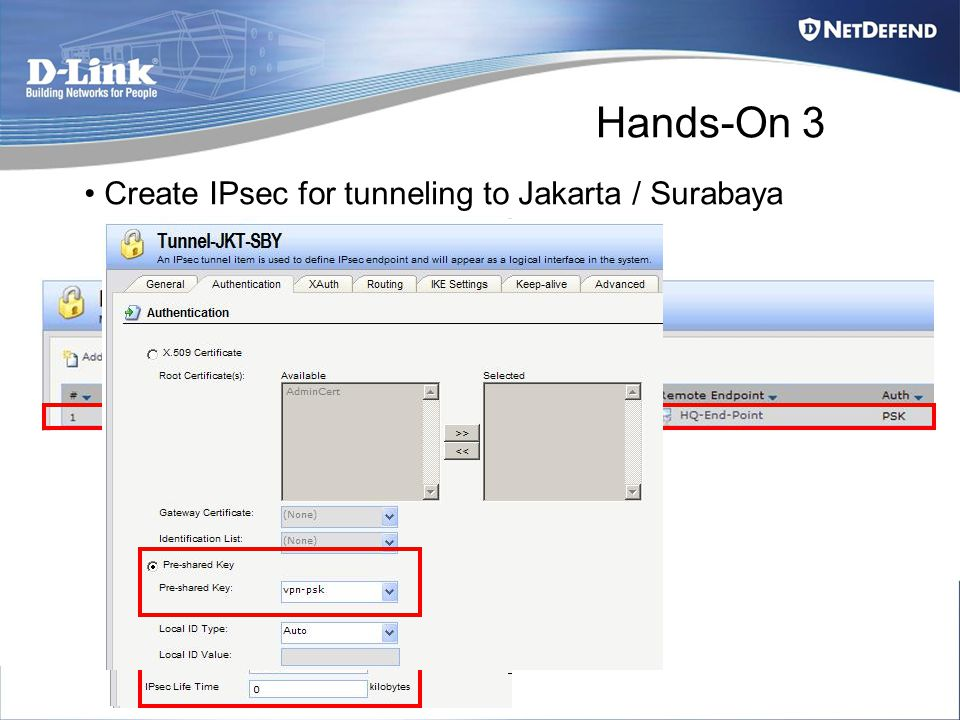 Hands-On 3 Create IPsec for tunneling to Jakarta / Surabaya