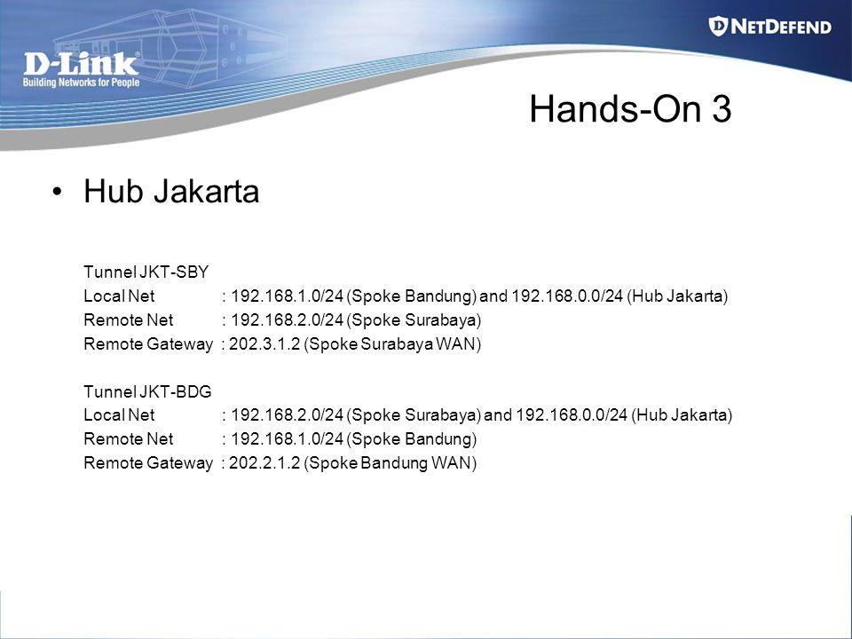 Hands-On 3 Hub Jakarta Tunnel JKT-SBY Local Net : 192.168.1.0/24 (Spoke Bandung) and 192.168.0.0/24 (Hub Jakarta) Remote Net : 192.168.2.0/24 (Spoke S