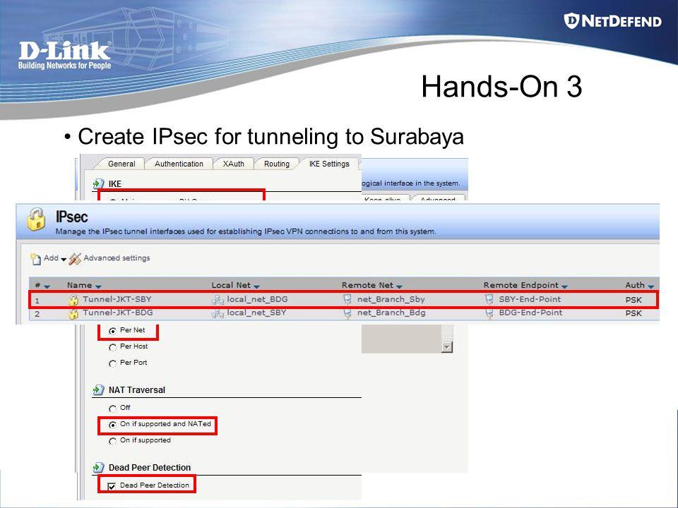 Hands-On 3 Create IPsec for tunneling to Surabaya
