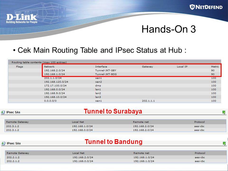Hands-On 3 Cek Main Routing Table and IPsec Status at Hub : Tunnel to Surabaya Tunnel to Bandung