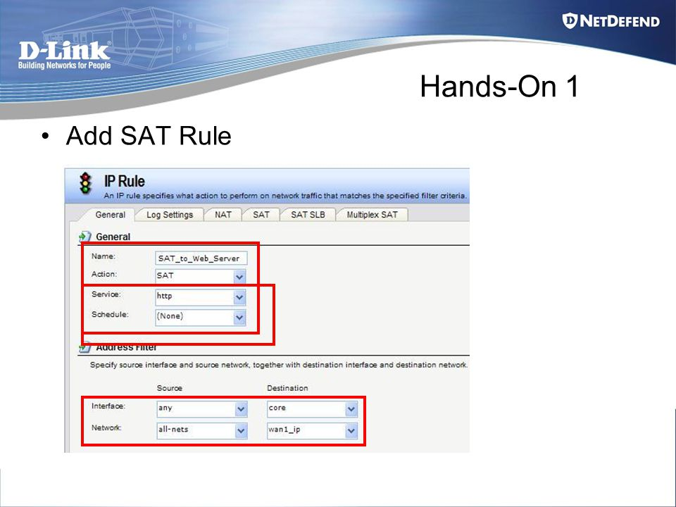Hands-On 1 Add SAT Rule