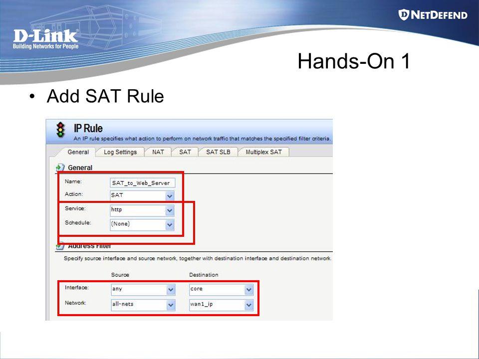 Hands-On 1 Add SAT Rule