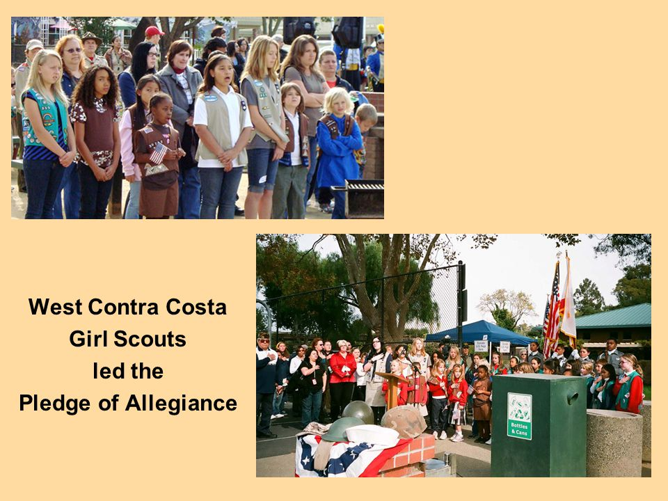West Contra Costa Girl Scouts led the Pledge of Allegiance